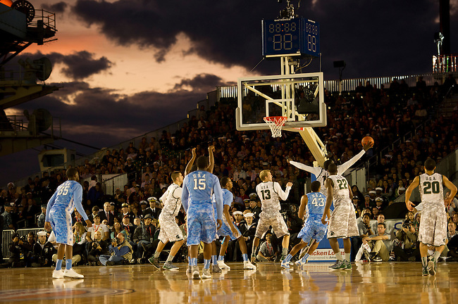 SAN DIEGO, CA - NOVEMBER 11, 2011: The Michigan State Spartans and the North Carolina Tar Heels in action during the 2011 Quicken Loans Carrier Classic on the USS Carl Vinson..(Photo by Robert Beck / ESPN)..- RAW FILE AVAILABLE -.- CMI000165187.jpg -