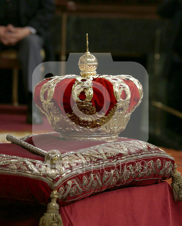Coronation ceremony in Madrid. King Felipe VI of Spain. <br /> crown of spanish kingdom.June 19 ,2014. (ALTERPHOTOS/EFE/Pool)