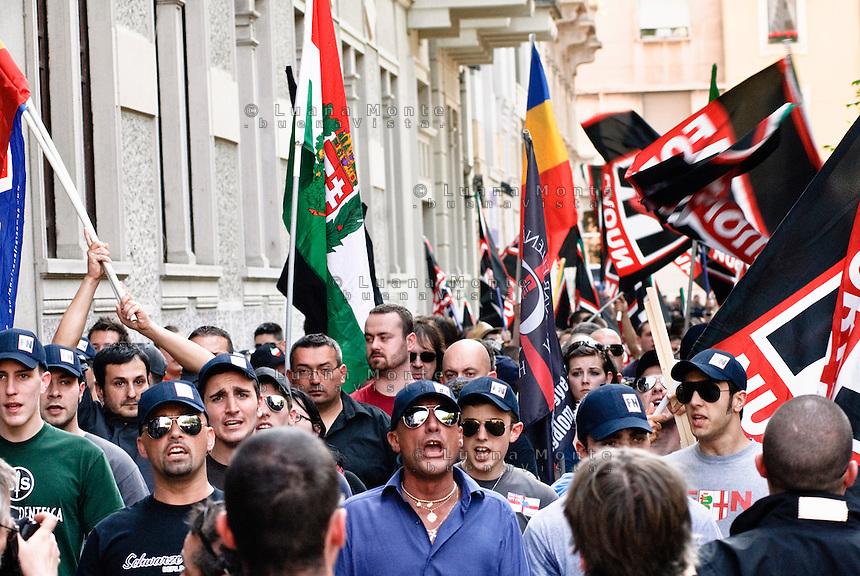 Milan, neo-fascist demonstration during the interntional meeting organized by Forza Nuova..Milano, manifestazione neofascista durante il meeting internazionale organizzato da Forza Nuova