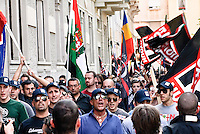 Milan, neo-fascist demonstration during the interntional meeting organized by Forza Nuova..Milano, manifestazione neofascista durante il meeting internazionale organizzato da Forza Nuova