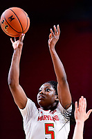College Park, MD - NOV 29, 2017: Maryland Terrapins guard Kaila Charles (5) hits a jump shot during ACC/Big Ten Challenge game between Gerogia Tech and the No. 7 ranked Maryland Terrapins. Maryland defeated The Yellow Jackets 67-54 at the XFINITY Center in College Park, MD.  (Photo by Phil Peters/Media Images International)