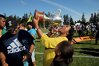 Mid Canterbury fans celebrate winning the Mitre 10 Heartland Championship Lochore Cup rugby final between Mid Canterbury and West Coast at Methven Domain in Methven, New Zealand on Sunday, 29 October 2017. Photo: Martin Hunter / lintottphoto.co.nz