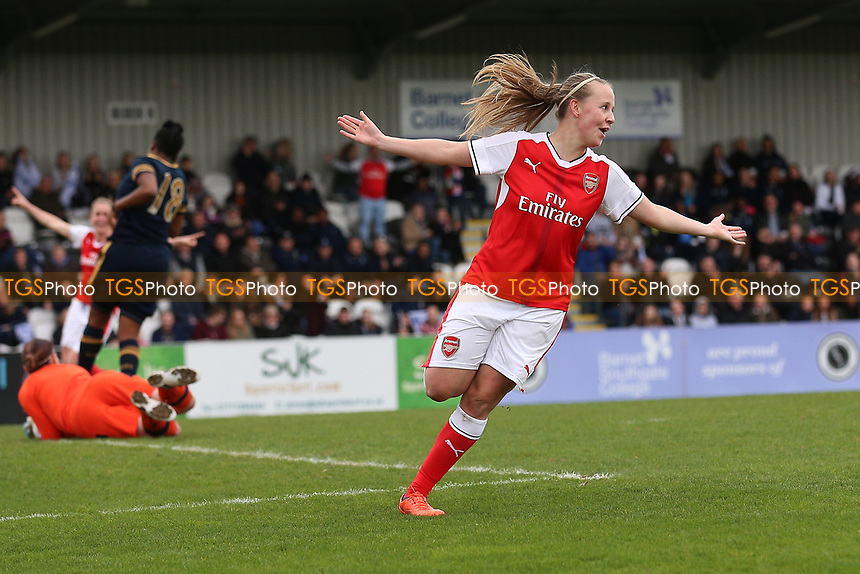 Beth Mead of Arsenal score the eighth goal for her team and celebrates during Arsenal Ladies vs Tottenham Hotspur Ladies, SSE Women's FA Cup Football at Meadow Park on 19th March 2017