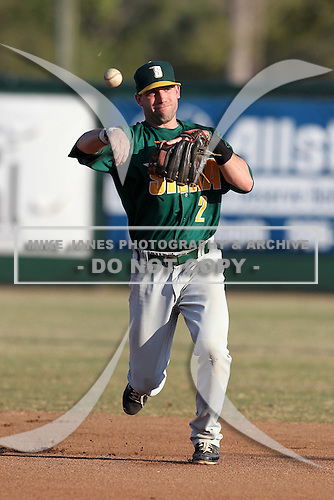 Siena Saints Dan Paolini #2 during a game vs Stetson Hatters at Melching Field in De Land, Florida;  March 15, 2011.  Siena defeated Stetson 6-4.  Photo By Mike Janes/Four Seam Images