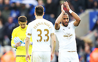 Ashley Williams of Swansea City applauds the fans after the Barclays Premier League match between Leicester City and Swansea City played at The King Power Stadium, Leicester on April 24th 2016