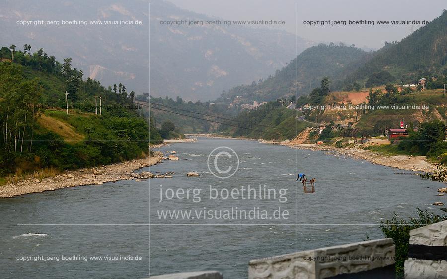 NEPAL , cable car on river Trishuli / Seilbahn am Fluss Trishuli