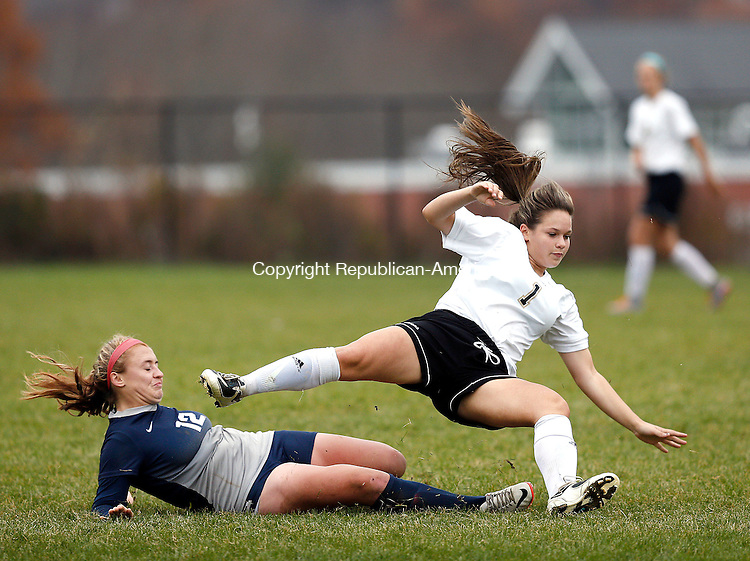 Beacon Falls, CT- 09 November 2016-110916CM05- Woodland's Karly Laliberte right, collides with Immaculate's Kayla Lanza after going in for the ball during their state tournament matchup in Beacon Falls on Wednesday.  Woodland would be knocked out of the tournament, after losing 2-1.     Christopher Massa Republican-American
