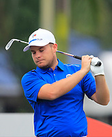 Tyrrell Hatton (Europe) on the 2nd tee during the Friday Foursomes of the Eurasia Cup at Glenmarie Golf and Country Club on the 12th January 2018.<br /> Picture:  Thos Caffrey / www.golffile.ie