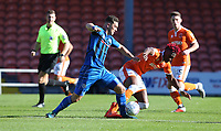 Rochdale's Harrison McGahey and Blackpool's Armand Gnanduillet<br /> <br /> Photographer Stephen White/CameraSport<br /> <br /> The EFL Sky Bet League One - Blackpool v Rochdale - Saturday 6th October 2018 - Bloomfield Road - Blackpool<br /> <br /> World Copyright &copy; 2018 CameraSport. All rights reserved. 43 Linden Ave. Countesthorpe. Leicester. England. LE8 5PG - Tel: +44 (0) 116 277 4147 - admin@camerasport.com - www.camerasport.com