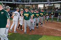 Siena Saints Nico Ramos (44), Matt Hamel (6), Ryan McGee (4), Nate Toms (36), Eddie Sweeney (20), and Arlo Marynczak (49) after a game against the UCF Knights on February 17, 2019 at John Euliano Park in Orlando, Florida.  UCF defeated Siena 7-1.  (Mike Janes/Four Seam Images)
