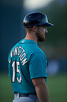 AZL Mariners manager Zac Livingston (15) coaches third base during an Arizona League game against the AZL D-backs on July 3, 2019 at Salt River Fields at Talking Stick in Scottsdale, Arizona. The AZL D-backs defeated the AZL Mariners 3-1. (Zachary Lucy/Four Seam Images)