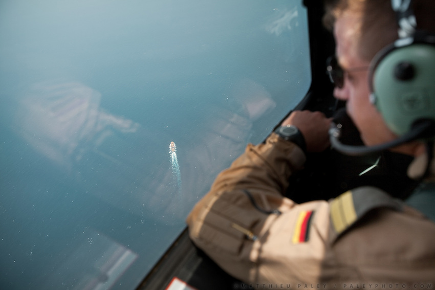 """We'll fly down the corridor and turn around at the end,"" says the tactical coordinator, nicknamed 'Tacco.' These men are on a mission as part of the EU's Operation Atalanta. They have 8 hours to locate the wooden cutters and speedboats of Somali pirates.  German Air Force working with Operation Atalanta (EU anti-piracy mission) and OEF (Operation Enduring Freedom) on sea reconnaissance mission using P3 plane with Infra Red cameras and other high tech equipment, to identify potential piracy activities off the coast of Somalia...The geostrategical and geopolitical importance of the Republic of Djibouti, located on the Horn of Africa, by the Red Sea and the Gulf of Aden, and bordered by Eritrea, Ethiopia and Somalia."