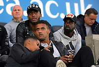 (L-R) Assistant coach Nigel Gibbs, players Leroy Fer, Wayne Routledge and Nathan Dyer watch the game during the Swansea Legends v Manchester United Legends at The Liberty Stadium, Swansea, Wales, UK. Wednesday 09 August 2017