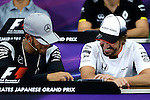 (L-R)  Lewis Hamilton (GBR),  Fernando Alonso (ESP), <br /> OCTOBER 6, 2016 - F1 : Japanese Formula One Grand Prix <br /> at Suzuka Circuit in Suzuka, Japan. (Photo by Sho Tamura/AFLO SPORT) GERMANY OUT