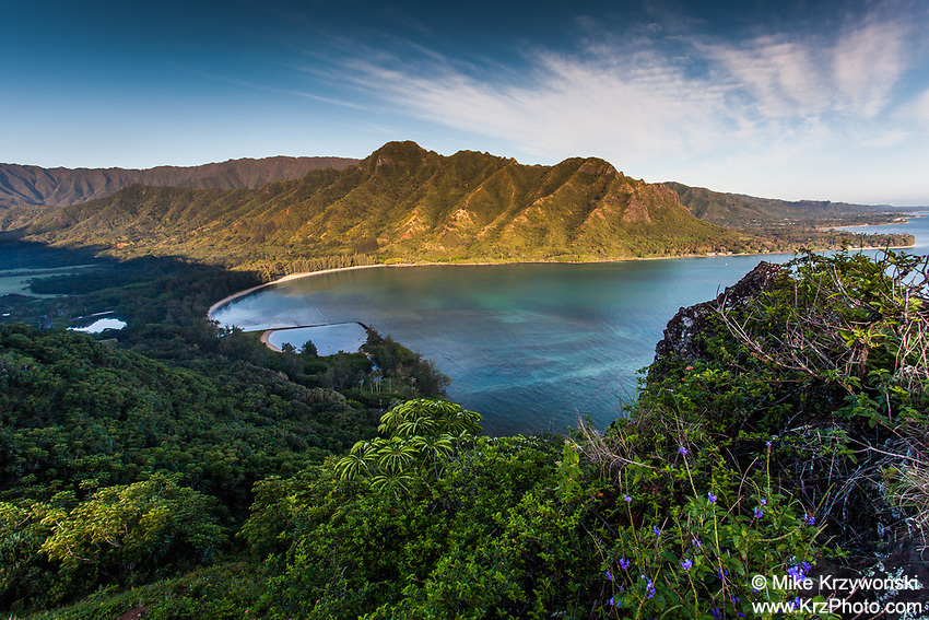 Aerial view of Kahana Bay as seen from the Crouching Lion hiking trail in Kaaawa, Oahu