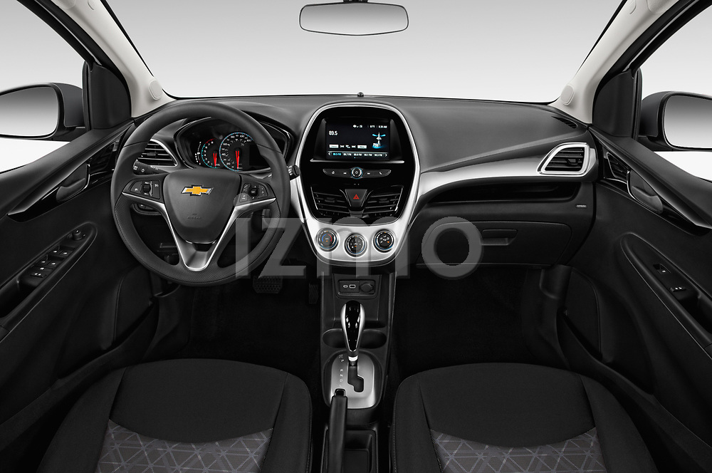 Stock photo of straight dashboard view of a 2019 Chevrolet Spark 1LT 5 Door Hatchback