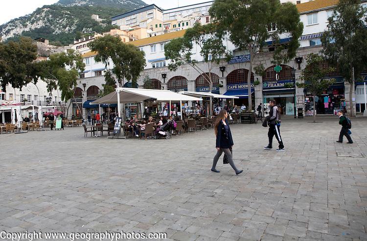 People walking at Grand Casemates Square, Gibraltar, British terroritory in southern Europe