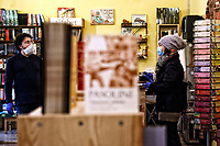 The book store 'Il mattone' in Rome south-east district Centocelle<br /> Rome April 20th 2020. Coronavirus lockdown, phase two. Reopening of the book stores all over Italy due to the last Government decree.<br /> Photo Samantha Zucchi Insidefoto