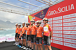 Race leader Brandon McNulty (USA) and Rally UHC Cycling team at sign on before the start of Stage 4 of Il Giro di Sicilia 2019 running 119km from Giardini Naxos to Mount Etna (Nicolosi), Italy. 6th April 2019.<br /> Picture: LaPresse/Massimo Paolone | Cyclefile<br /> <br /> All photos usage must carry mandatory copyright credit (&copy; Cyclefile | LaPresse/Massimo Paolone)