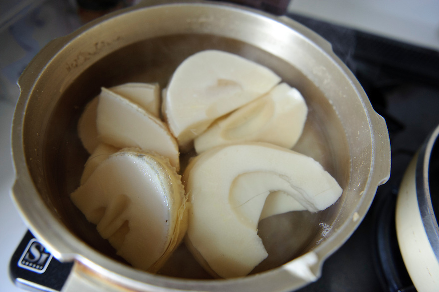 Bamboo shoots boiling, Mr and Mrs H's house, Chiba prefecture, Japan, April 29, 2011.