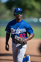 Los Angeles Dodgers center fielder Aldrich De Jongh (63) jogs off the field between innings of an Instructional League game against the San Diego Padres at Camelback Ranch on September 25, 2018 in Glendale, Arizona. (Zachary Lucy/Four Seam Images)