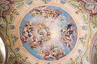 Austria, Styria, Admont: Admont Abbey, monastic library, the largest of the world, ceiling fresco | Oesterreich, Steiermark, Admont: Stift Admont, Stiftsbibliothek, groesste Klosterbibliothek der Welt, Deckenfresko