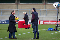 Bill Turnbull chats to Wycombe head of media Matt Cecil During BBC Breakfast as they air their live broadcast on Tuesday morning, presented by Bill Turnbull for his penultimate appearance on the programme at Adams Park, High Wycombe, England on 23 February 2016. Photo by Andy Rowland.