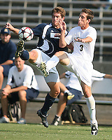 04 September 2009: Michael Thomas #8 of the University of Notre Dame goes for the ball with Anthony Arena #3 of Wake Forest University during an Adidas Soccer Classic match at the University of Indiana in Bloomington, In. The game ended in a 1-1 tie..