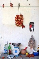 A rustic still-life of a bunch of pomodorino piennolo del Vesuvio tomatoes hanging on the wall above a table with weighing scales in the room where they are stored through the winter