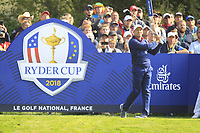 Sergio Garcia (Team Europe) on the 5th tee during the Friday Foursomes at the Ryder Cup, Le Golf National, Ile-de-France, France. 28/09/2018.<br /> Picture Thos Caffrey / Golffile.ie<br /> <br /> All photo usage must carry mandatory copyright credit (© Golffile | Thos Caffrey)