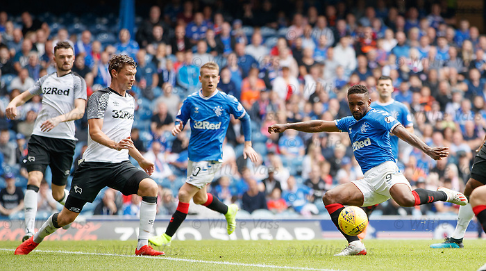 28.07.2019 Rangers v Derby County: Jermain Defoe pulls the trigger
