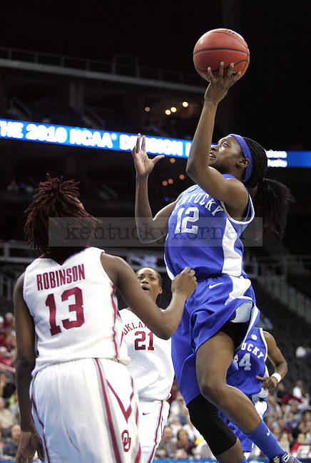 Senior guard and foward Lydia Watkins scores two points for UK durin the second half of their loss to the Oklahoma Sooners on Tuesday, March 30, 2010 during the Kansas City Regional Final at the Sprint Center in Kansas City, Mo. The Sooners defeated the Cats, 88-68. Photo by Allie Garza | Staff