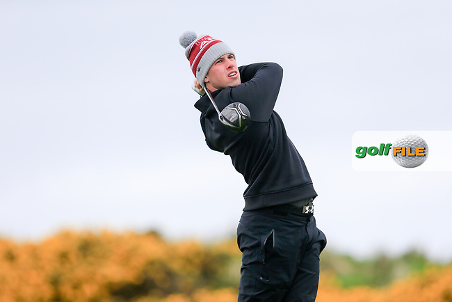 Alex Gleeson (Castle) during the first round of matchplay at the West of Ireland, Co Sligo golf club, Rosses Point, Sligo. 16/04/2017.<br /> Picture: Golffile | Fran Caffrey<br /> <br /> <br /> All photo usage must carry mandatory copyright credit (&copy; Golffile | Fran Caffrey)