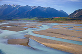 Looking across the wide braided Rakaia river to Mount Algidus, Ashburton District, Canterbury, South Island, New Zealand.