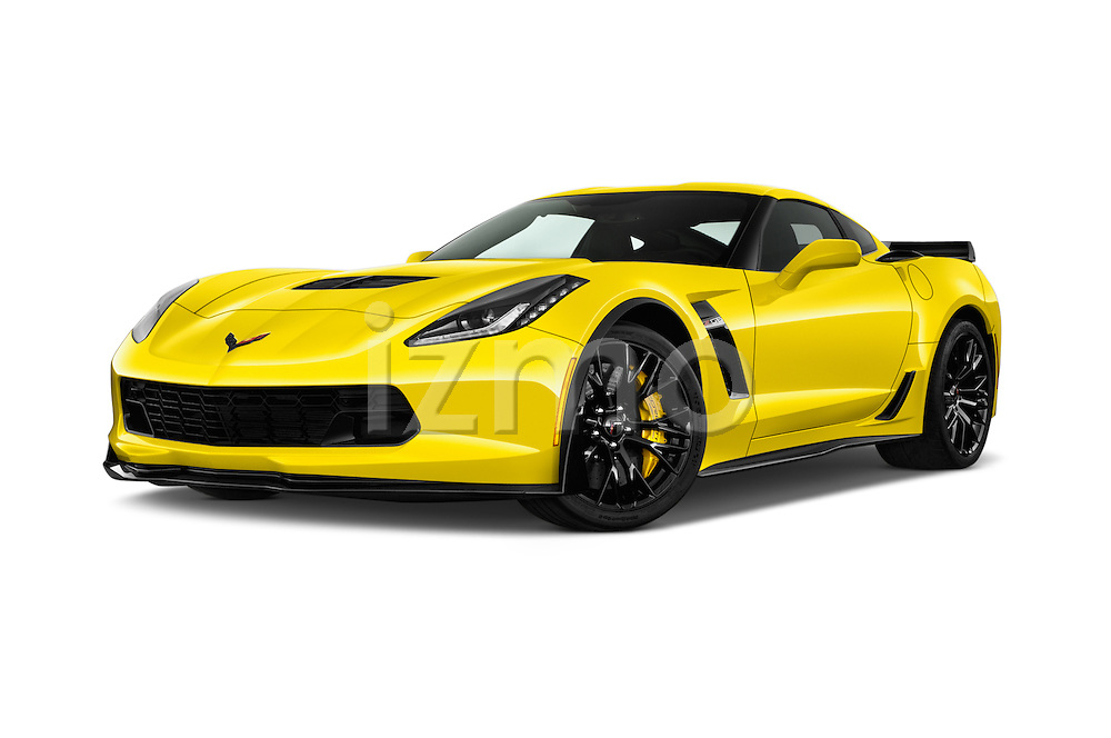 Stock pictures of low aggressive front three quarter view of 2018 Chevrolet Corvette Z06-Coupe-1LZ 3 Door Targa Low Aggressive