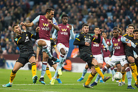 30th October 2019; Villa Park, Birmingham, Midlands, England; English Football League Cup, Carabao Cup, Aston Villa versus Wolverhampton Wanderers; Ahmed El Monhamady of Aston Villa scoring to take the lead 2-1 in the 57th minute - Strictly Editorial Use Only. No use with unauthorized audio, video, data, fixture lists, club/league logos or 'live' services. Online in-match use limited to 120 images, no video emulation. No use in betting, games or single club/league/player publications