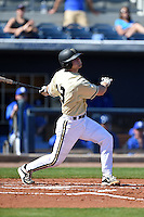 Vanderbilt Commodores catcher Jason Delay (13) at bat during a game against the Indiana State Sycamores on February 21, 2015 at Charlotte Sports Park in Port Charlotte, Florida.  Indiana State defeated Vanderbilt 8-1.  (Mike Janes/Four Seam Images)