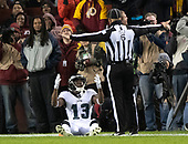 Philadelphia Eagles wide receiver Nelson Agholor (13) appeals to down judge Jerod Phillips (6) who ruled his seeming reception was not a catch for a touchdown in third quarter action against the Washington Redskins at FedEx Field in Landover, Maryland on December 30, 2018. The call was reviewed and changed to a touchdown.  The Eagles won the game 24 - 0 and their victory coupled with the Viking loss allowed them to advance to the NFC playoffs.<br /> Credit: Ron Sachs / CNP
