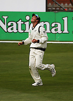 NZ's Tim Southee celebrates catching Harbahjan Singh during day four of the 3rd test between the New Zealand Black Caps and India at Allied Prime Basin Reserve, Wellington, New Zealand on Monday, 6 April 2009. Photo: Dave Lintott / lintottphoto.co.nz.