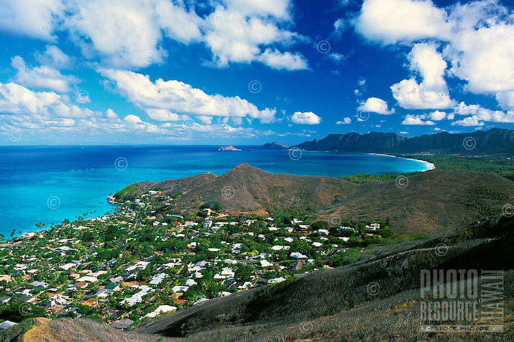 This spectacular scenic view of Lanikai and the Waimanalo Bay area of windward Oahu awaits those hiking to the top of the Lanikai Ridge Trail.