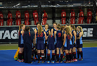 The PNGHS team huddles during the 2017 Furnware Cup girl's hockey match between Palmerston North Girls' High School and Gisborne Girls' High School  at Hawkes Bay Sports Park in Hastings, New Zealand on Thursday, 6 April 2017. Photo: Dave Lintott / lintottphoto.co.nz