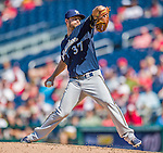 23 August 2015: Milwaukee Brewers pitcher Tyler Thornburg on the mound against the Washington Nationals at Nationals Park in Washington, DC. The Nationals defeated the Brewers 9-5 in the third game of their 3-game weekend series. Mandatory Credit: Ed Wolfstein Photo *** RAW (NEF) Image File Available ***