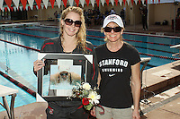STANFORD, CA - FEBRUARY 13:  Stefanie Sutton of the Stanford Cardinal on Senior Day during Stanford's 167-131 win over California at the Avery Aquatic Center on February 13, 2010 in Stanford, California.