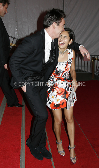 WWW.ACEPIXS.COM . . . . .....May 5, 2008. New York City.....Actor Jonathan Rhys Meyers (r) and Reena Hammer leaving the 'Superheroes: Fashion and Fantasy' Costume Institute Gala at The Metropolitan Museum of Art...  ....Please byline: NANCY RIVERA - ACEPIXS.COM.. *** ***..Ace Pictures, Inc:  ..Philip Vaughan (646) 769 0430..e-mail: info@acepixs.com..web: http://www.acepixs.com