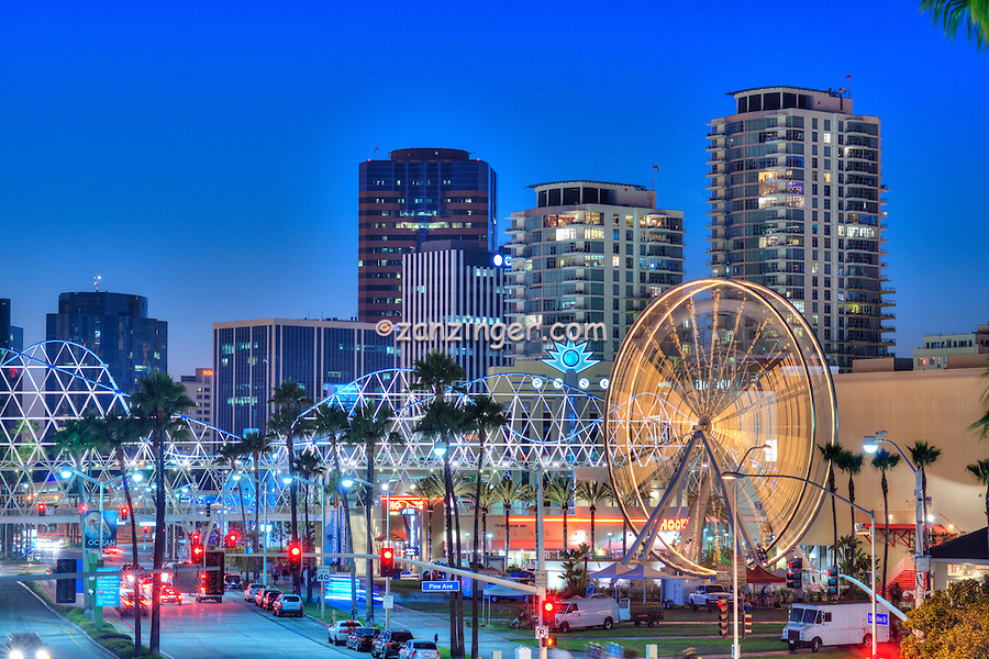 Long Beach CA Skyline, Pike Amusements, Dusk, Night, Lights Lit, Magic Hour
