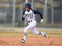 NWA Democrat-Gazette/CHARLIE KAIJO Bentonville West High School Madison Johnson (20) runs to second during a softball game, Thursday, March 13, 2019 at Bentonville West High School in Centerton.