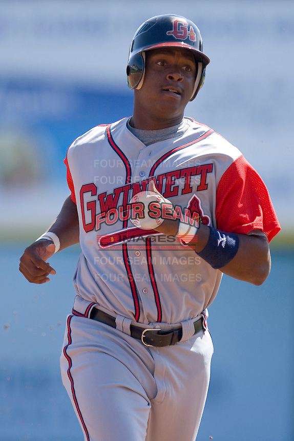 Brandon Jones #28 of the Gwinnett Braves at Knights Castle April 9, 2009 in Fort Mill, South Carolina. (Photo by Brian Westerholt / Four Seam Images)