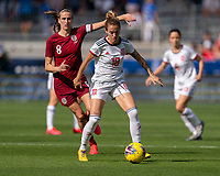 FRISCO, TX - MARCH 11: Angela Sosa #18 of Spain dribbles during a game between England and Spain at Toyota Stadium on March 11, 2020 in Frisco, Texas.