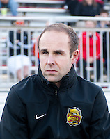 Western NY Flash head coach Aaran Lines watches his team before the game at the Maryland SoccerPlex in Boyds, MD.  Washington tied Western NY, 1-1.