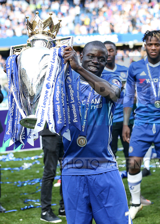 Chelsea's N'Golo Kante with the trophy during the Premier League match at Stamford Bridge Stadium, London. Picture date: May 18th, 2017. Pic credit should read: David Klein/Sportimage